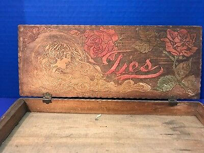 Vintage Wooden Tie Glove Belt Dresser Box Roses Woman Pyrography Inside & Out