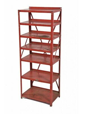 1940S Red Painted Steel General Store Freestanding Shelving Unit