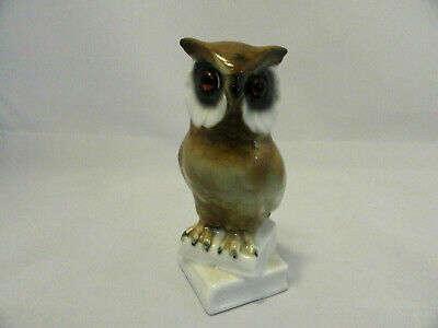 """Porcelain Owl Bird Figurine Amber Glass Eyes Made in Germany 4.5"""" RARE A1-11"""