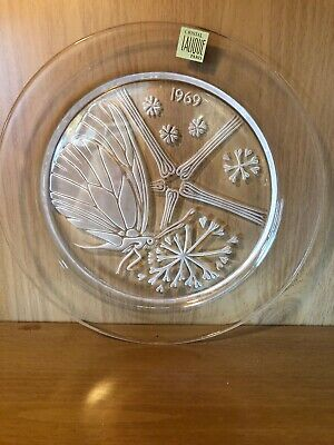 1969 Lalique Cristal Collector Plate - Papillon Butterfly - w/ Box