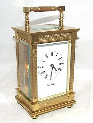 ENGLISH Antique Style Brass Carriage Mantel Clock 11 Jewels  Wm Forsdyke WORKING