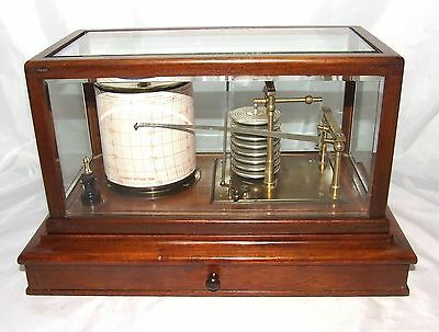 Antique Mahogany Barograph Chart Drawer & Bevelled Glass MANOAH RHODES BRADFORD
