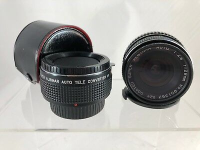Coated Super Albinar Auto 1:2.8 f=28mm No. 901367 Lens & Tele Converter 2x    TC