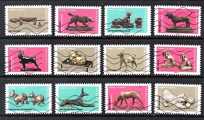 France - French - 2018 - Dogs In Art - Fu - Full Set Of 12 Stamps