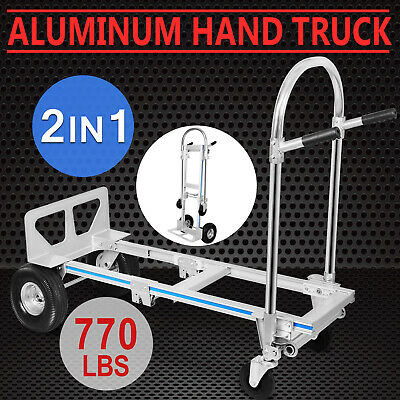 2 in 1 Hand Sack Truck Trolley Office Cart Aluminum 2/4 Wheels 350KG/770LBS