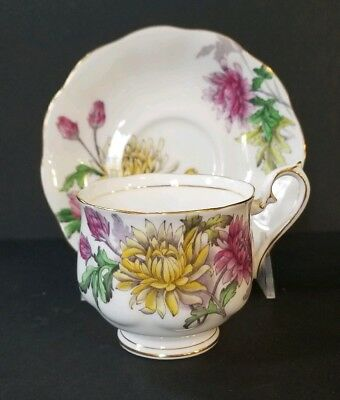 Royal Albert Chrysanthemum Teacup and Saucer Flower Of the Month Handpainted