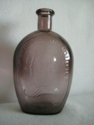 Wheaton Purple George Washington Father Of His Country Glass Bottle Flask