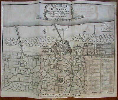 Dunkirk France c.1740 Basire engraved large battle map fortified City Plan