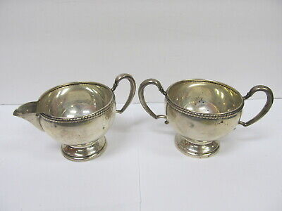 "Hunt Silver Co Sterling Silver # 152 Sugar & Creamer 5 5/8"" W Handles Good Cond"