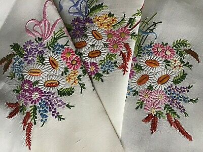Exquisite Vintage Linen Hand Embroidered Tablecloth ~ Floral Ribboned Bouquets