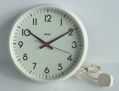 Vintage Smiths Electric Operated White Wall Clock, In Good Working Order