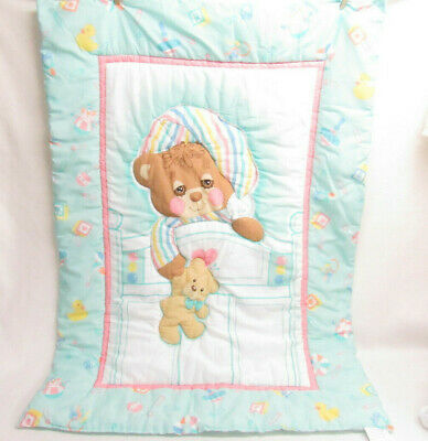 Vtg Morgan Teddy Beddy Bear Sleepy Crib Quilted Blanket