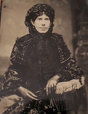 Antique ORIGINAL 19th Century Tintype Photo Woman in Victorian Mourning Attire