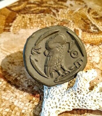 Ancient Bc Coin Greek Rome Athena Owl AOE Goddess of Athens Warfare olive moon