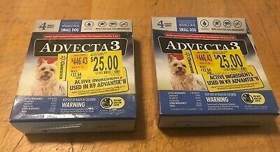 2 Boxes Advecta 3 For Small Dogs 5-10 lbs 8 Month Supply Flea Tick Lice Control