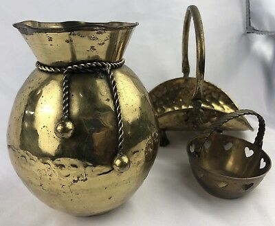3 pc Lot Vintage Hand Made Solid Brass Vase with Brass Rope and Tassels - India