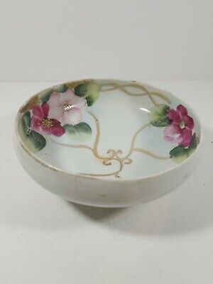 Handpainted Japan Footed Bowl Floral Swirl Rose Motif 6""