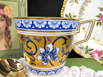 Antique Coalport Painted Enameled Breakfast Teacup No Saucer 24Kt Gold Teacup