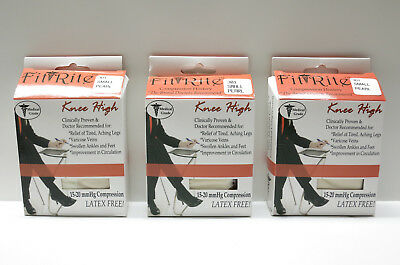 3x Fit Rite 15-20 mmHg Compression Hosiery Knee High Unisex Pearl 301 Small