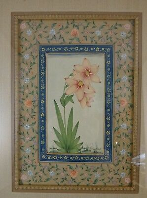 """Fantastic Persian Hand Painted Floral Painting. 20th c. 11 ½"""" x 8""""."""