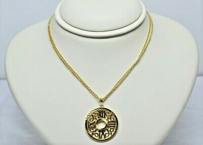 """18K Gold Plate Over Solid .925 Sterling Silver 18"""" Inch Rolo Necklace With Pndt"""