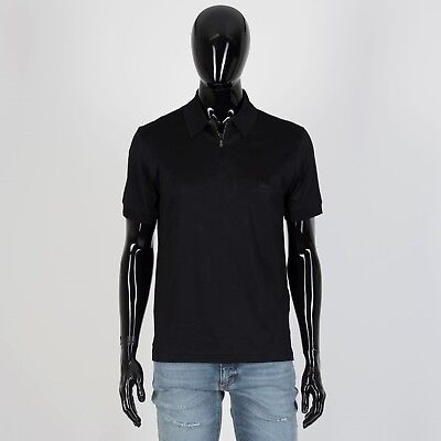 978c12c5d9a BRIONI 455$ Authentic New Zip Polo Neck Shirt In Black Cotton Jersey