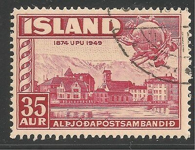 Iceland #254 (A49) VF USED - 1949 35a Reykjavik and UPU Monument, Bern