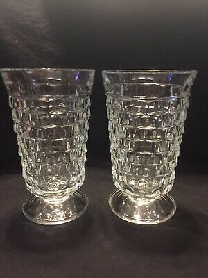 "American Whitehall Footed Indiana Clear Glass Tumblers 6"" Tall Set of 2 Item #10"
