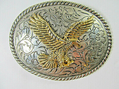 Gold Silver Eagle Flying Flower Vintage Cowboy Western Rodeo Belt Buckle