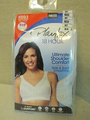 1ab26d01a NEW PLAYTEX 18 HOUR Ultimate Shoulder Comfort WIRE FREE White BRA 46DD 4693