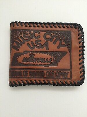Vintage Hand  made genuine Leather Wallet Nashville Grand Ole Opry Music City