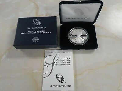 2018 S Proof Silver American Eagle with  box and COA OGP