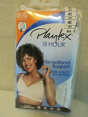340c896a7 NEW PLAYTEX 18 HOUR Sensational Support WIRE FREE White BRA 46C 20 27
