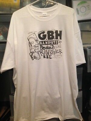 b56d5ce84 T-shirt Old Punk Rock Concert Flyer GBH Ill Repute La Casa Men's White