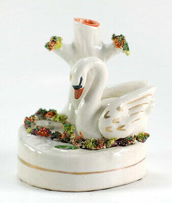 Antique Staffordshire Pottery Flower Vase Tree Trunk with Swan 1860s or Earlier?
