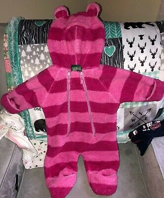 LL Bean Baby Pink Fleece Snowsuit Bunting with Ears Infants - SIZE 3-6 Months