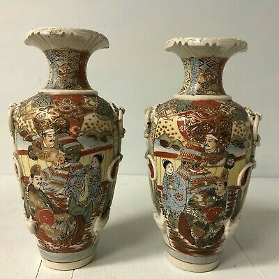 "Pair of 19th c Satsuma vases signed 12"" tall"