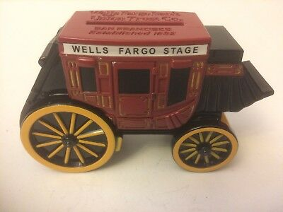Wells Fargo Cast Metal Stage Coach Coin Bank No Key Excellent Condition