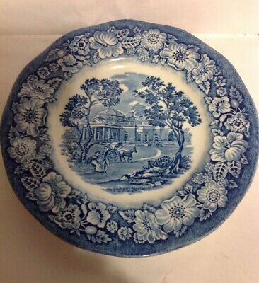 "Liberty Blue Staffordshire Historic Colonial Scenes ""Monticello"" Bread Plate 6"""