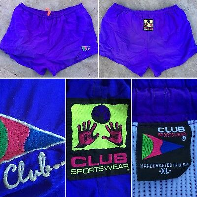 Vintage Club Sportswear 80s 90s Neon Volleyball Shorts Swim Trunks XL USA