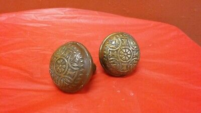 Pair of  Quality Solid Brass Antique Victorian Door Knobs Eastlake