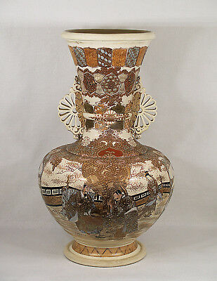 Large Antique Japanese Satsuma Ceramic Vase Samurai circa1890
