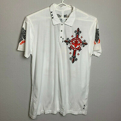 Affliction Mens Live Fast Short Sleeve Graphic Print Polo Shirt Sz 3X White NWT