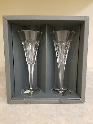 """Waterford Crystal - The Millennium Collection """"LOVE"""" Hearts Toasting Flute pair"""