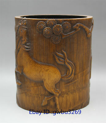 Exquisite Chinese Bamboo Pen holder Carved Hand carved Old man & Horse Brush Pot