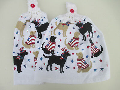 2 Hanging Kitchen Dish Towels w/ Crochet Tops July 4th Dogs Wearing Flag Sweater