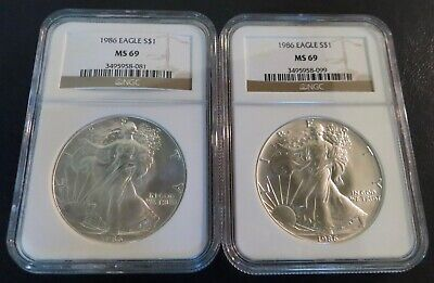 Two (2) Coins!1986 American Silver Eagles NGC MS69 First Year of Issue!