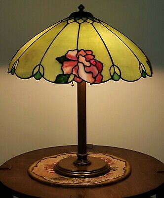 Duffner & Kimberly Arts & Crafts Leaded Slag Stained Glass Lamp - Tiffany Era