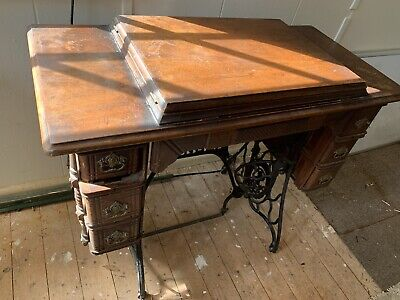 vintage singer sewing machine table with singer no.66 sewing machine