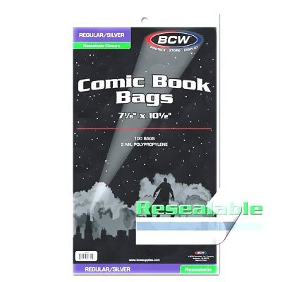 200 NEW RESEALABLE Acid Free BCW SILVER Comic Book Bags FREE SHIP